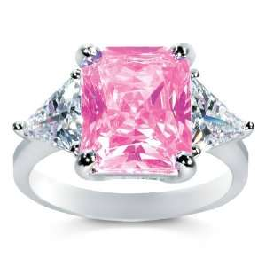 Silver Pink Cubic Zirconia Solitaire Superstar Ring SusanB. Jewelry