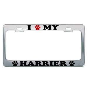 I LOVE MY HARRIER Dog Pet Auto License Plate Frame Tag