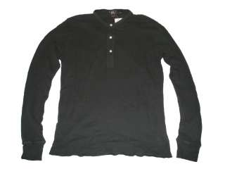 RRL Ralph Lauren Polo Black Thermal Henley Shirt Large