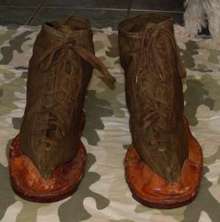 VINTAGE ww1 WWII ARMY MILITARY CANVAS HOB NAIL SOLES 12