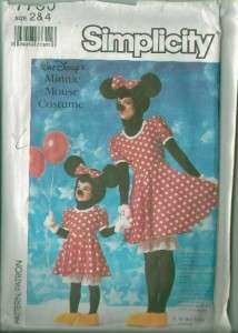 OOP Walt Disney Mickey or Minnie Mouse Costume Sewing Pattern