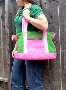 vtg 80s neon pink green oversized bag dog carrier tote