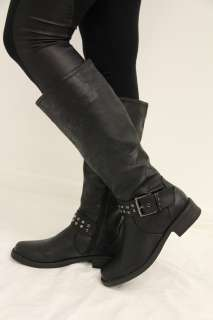 NIB Womens Faux Leather Riding Knee High Boots Low Heel Black