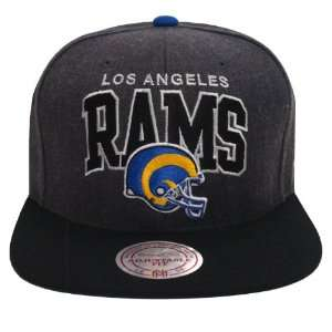 Los Angeles Rams Retro Mitchell & Ness Block Snapback Cap Hat Charcoal