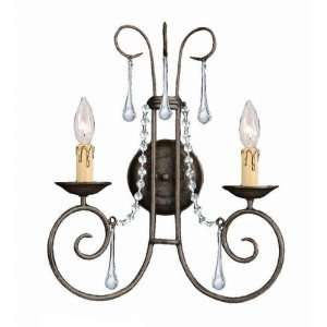 SOHO Natural Wrought Iron Wall Sconce Accented with Majestic Wood