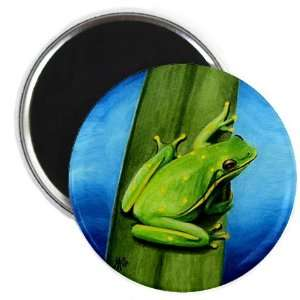 Green Frog on Leaf Original Art 2.25 inch Fridge Magnet
