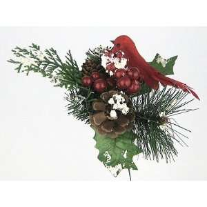 12 Christmas Berry Pine Cone Bird Picks with Snow 8in Red