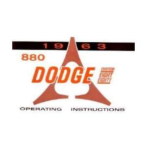 1963 DODGE 880 Owners Manual User Guide Automotive