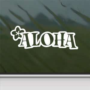 Aloha Hawaii White Sticker Car Laptop Vinyl Window White
