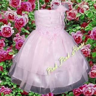 P100 30 Pink Pageant Party Flower Girls Dress 5T 6T