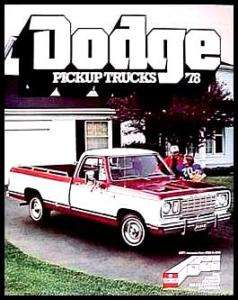 1978 Dodge Pickup Truck Brochure Power Wagon