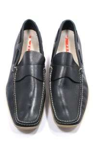 PRADA Mens DEEP NAVY LEATHER LOAFERS Nautical Feel Contrast Stitching