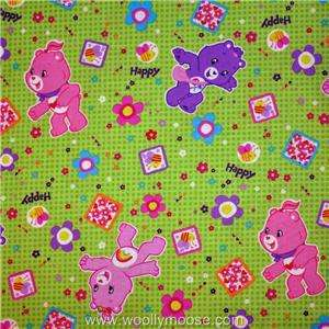 HALF YARD Care Bears Bumble Bees Flowers Happy Days LIME GREEN Dot