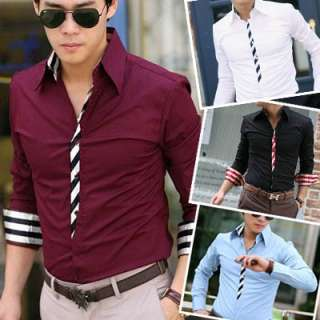 Mens Casual Slim Fit Dress Shirts 4 color 4 size C51