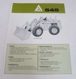 Allis Chalmers 1970 545 Wheel Loader Specs Brochure