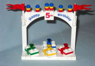 CUSTOM LEGO HAPPY 5TH BIRTHDAY CAKE TOPPER & GIFTS, NEW