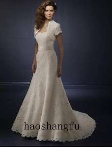 New Short Sleeve Jacket Lace Bridal Wedding Dress Gown