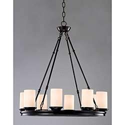 Indoor 8 light Mahogany Bronze Wood Base Chandelier
