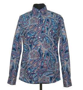 Mens Retro Blue Paisley Tailored Shirt Long Sleeve New