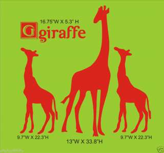 GIRAFFE MOM and BABY Nursery Wall Decor Vinyl Decal
