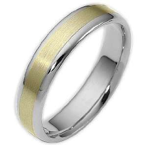 Traditional Style 5mm Two Tone 14 Karat Gold Comfort Fit Wedding Band