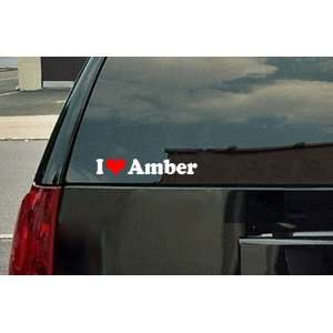 I Love Amber Vinyl Decal   White with a red heart