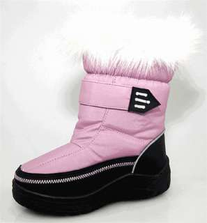 Kids Girls Flat Winter Fur Boots Shoes Size 7 Pink Baby