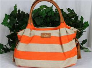 KATE SPADE JUBILEE STRIPE CORAL NATURAL CANVAS LEATHER STEVIE BAG TOTE