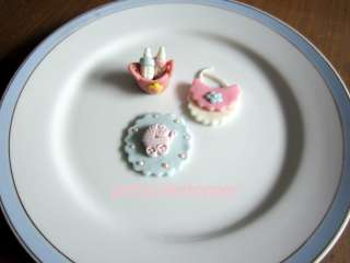 Edible fondant baby shower cakes cupcakes toppers