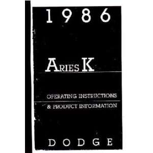1986 DODGE ARIES K Owners Manual User Guide Automotive