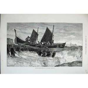 1875 Storms Launching Life Boat Brighton Sea Fine Art