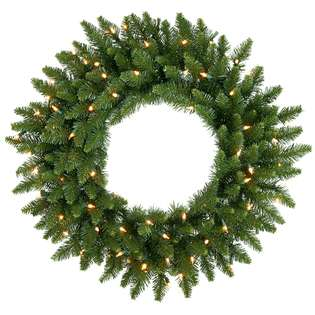 Pre Lit Camdon Fir Artificial Christmas Wreath   Clear Dura Lit Lights