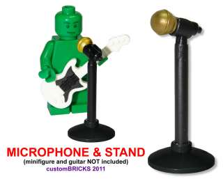 Microphone & Mic Stand GOLD * Lego Minifigure Accessory NEW * minifig