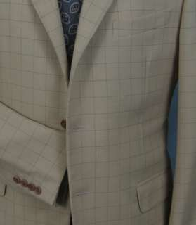 Zanella, Italy, three button check sport coat, 41R