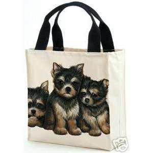 Terrier Puppy Dog Canvas Tote Bag Purse by Leslie Anderson Puppies