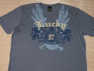 LUCKY BRAND Seal 57 T Shirt Navy Gray NWOT
