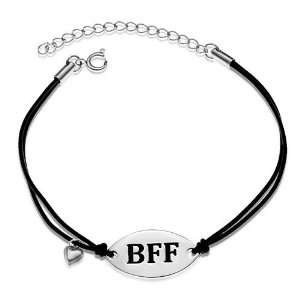 BFF Best Friend Forever with Dangling Heart Rubber Cord Charm Bracelet