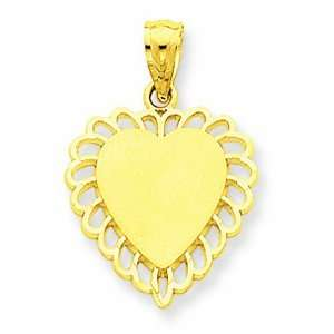14K Yellow Gold Scalloped Border Heart Charm GEMaffair