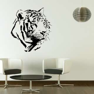 WHITE TIGER HEAD BIG CAT WALL DECAL TRANSFER LARGE REMOVABLE VINYL