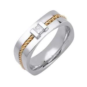 .18ct 14K Gold Two Tone Diamond Wedding Band (7 mm