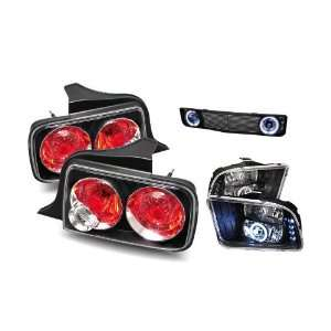 09 Ford Mustang Black CCFL Halo Projector Headlights + Halo Fog Light