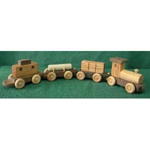 Handmade Wooden Four Piece Train Toys & Games