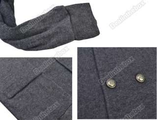 New Mens Casual Stylish Wool V Neck Slim Fit Double Breasted Coat 2