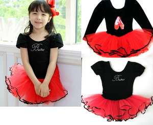 New Girl Birthday Party Leotard Ballet Tutu Dance Skate Skirt Costume