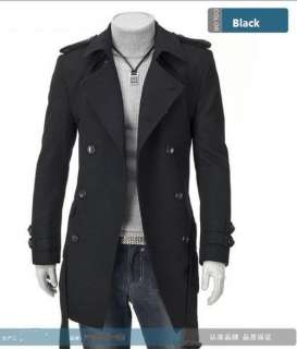 NWT Mens Slim Fit Double Breasted D Breasted Strap Trench Coat Black