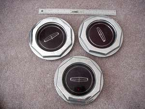 lincoln CONTINENTAL MARK 7 TOWN CAR wire wheel center caps 3x