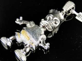 MENS WHITE GOLD FINISH CARTOON BART SIMPSON DIAMOND PENDANT CHARM 0.75