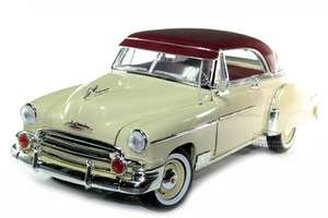 1950 CHEVY BEL AIR 1/18 DIE CAST CREAM W/ BURGUNDY TOP
