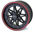 DRAG DR20 15 7J ET40 4X100 MATT BLACK RED PIN STRIPE ALLOY WHEELS