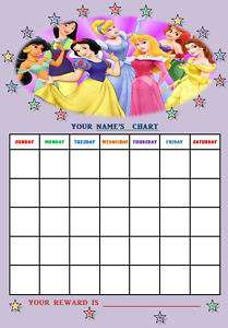 DISNEY PRINCESS personalised Reward Chart + Stickers.